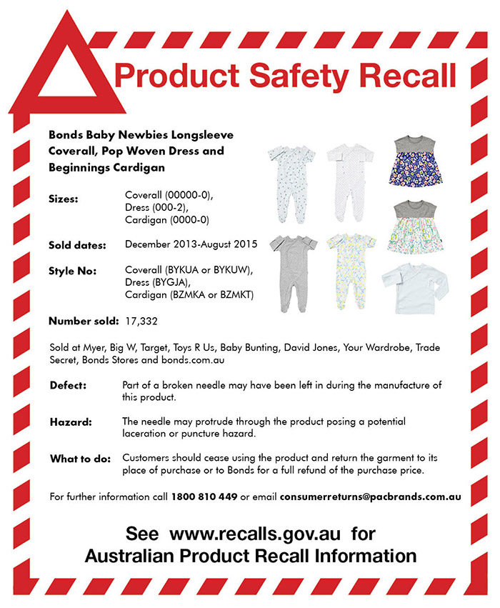 Bonds Baby Clothing Recall