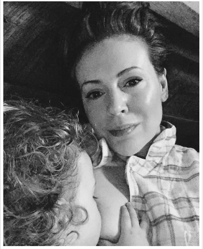 Alyssa Milano Breastfeeding
