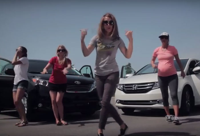 texting-yoga-pants-minivan spoof