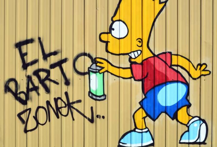 Graffiti of Bart Simpson doing wall vandalism - El Bart Zonek in children casual clothes