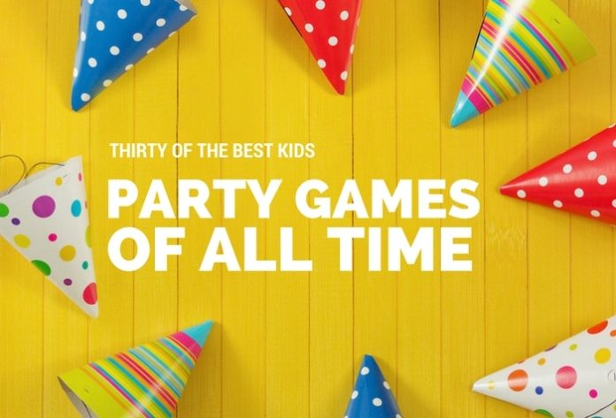 party games of all times in yellow background and colorful party hats around