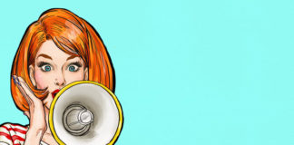 retro woman using a megaphone in sky blue background