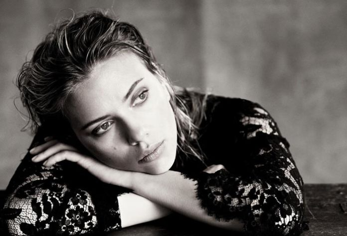 black and white photo of Scarlett Johansson