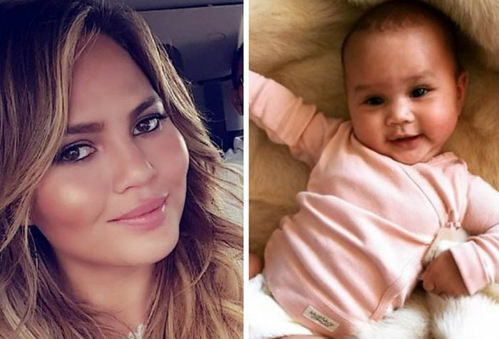 separate picture of Chrissy Teigen and baby Luna