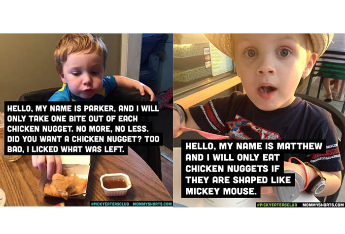Two Boys Eating on Table one is eating nuggets and the other boy holds a plastic spoon with messages over the images