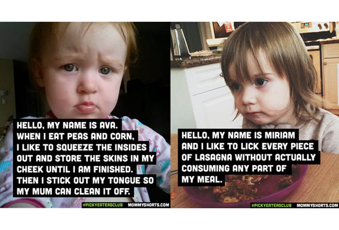 Two Toddlers with Message Over the Images one is looking at the camera and the other is on a table with lasagna leftover