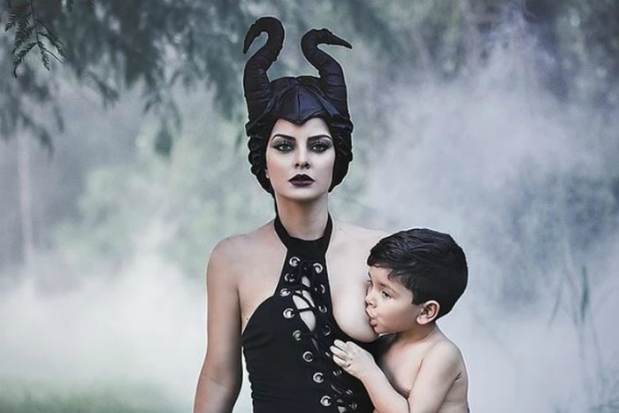 mum becomes Maleficent to breastfeed