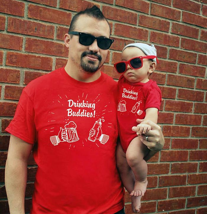 drinking buddies Etsy daddy and me t-shirt onesie set