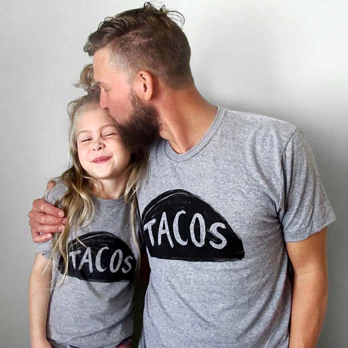 father and kid matching taco t-shirt Etsy