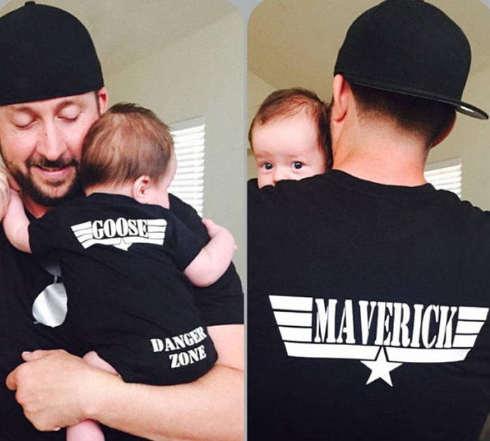 Matching dad and baby Top Gun onesie and t-shirt set Etsy