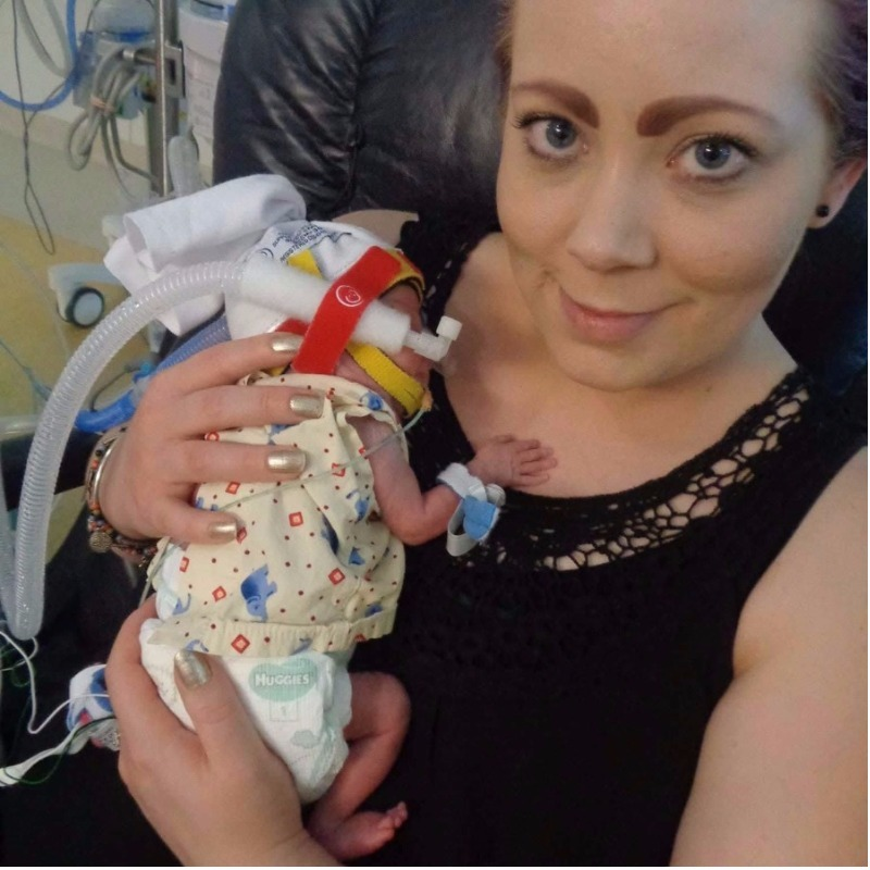 Perth mum Kate McFarlane holds her premmie baby son