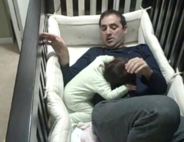 Nunzio Roso dad gets stuck in the cot