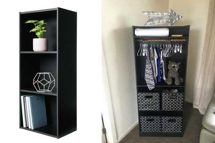 clever Kmart hacks - bookshelf into baby wardrobe