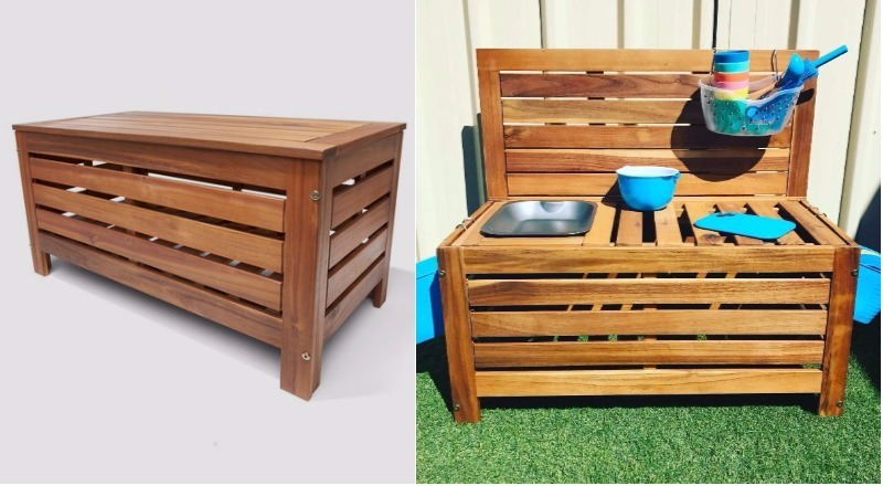 clever Kmart hacks for kids - storage bench mud kitchen