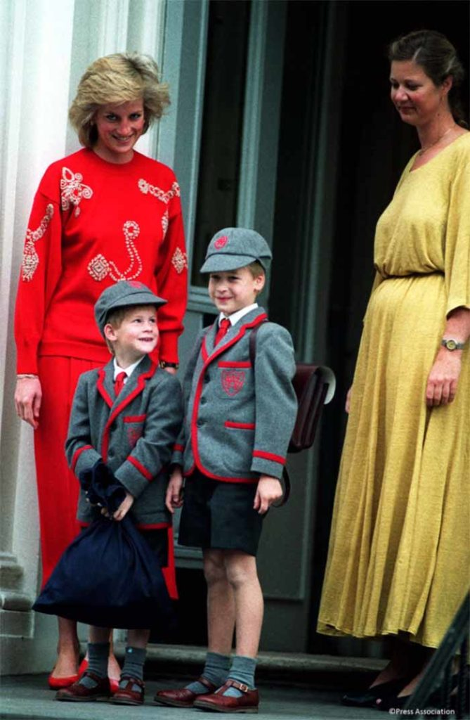 Princes William and Harry attend first day of school wth Diana