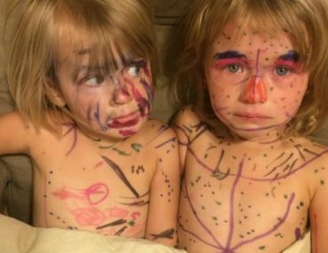 Sharpie sisters draw on themselves with permanent markers