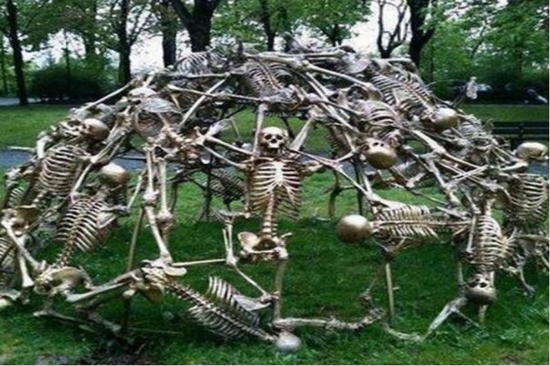 skeleton climbing dome world's worst playgrounds