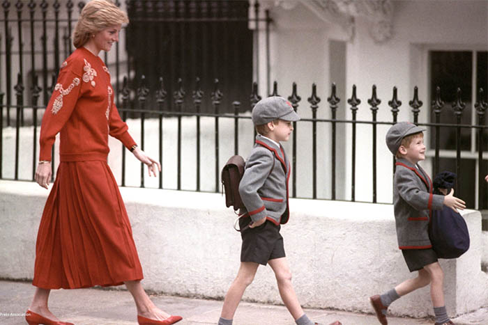 Prince William and Prince Harry first day of school with Princess Diana