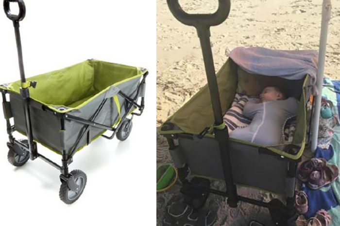 kmart beach trolley hack into baby portable cot