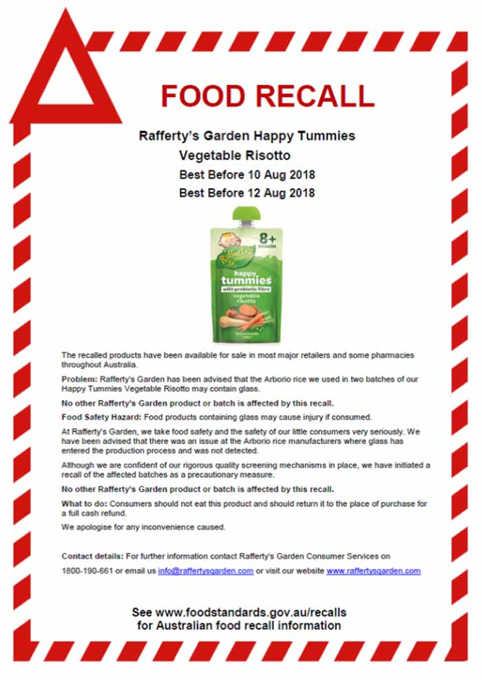 Rafferty's Garden baby food recall