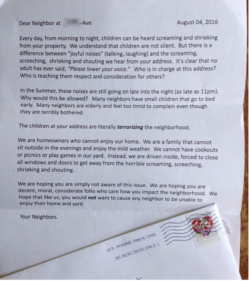 This mum had the best response when neighbours complained about her one such person has made his or her objection to children having fun known in a letter stamped with a heart of all things that has since gone viral spiritdancerdesigns Choice Image