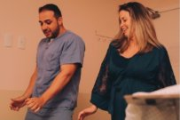 mum and doctor dance during labour