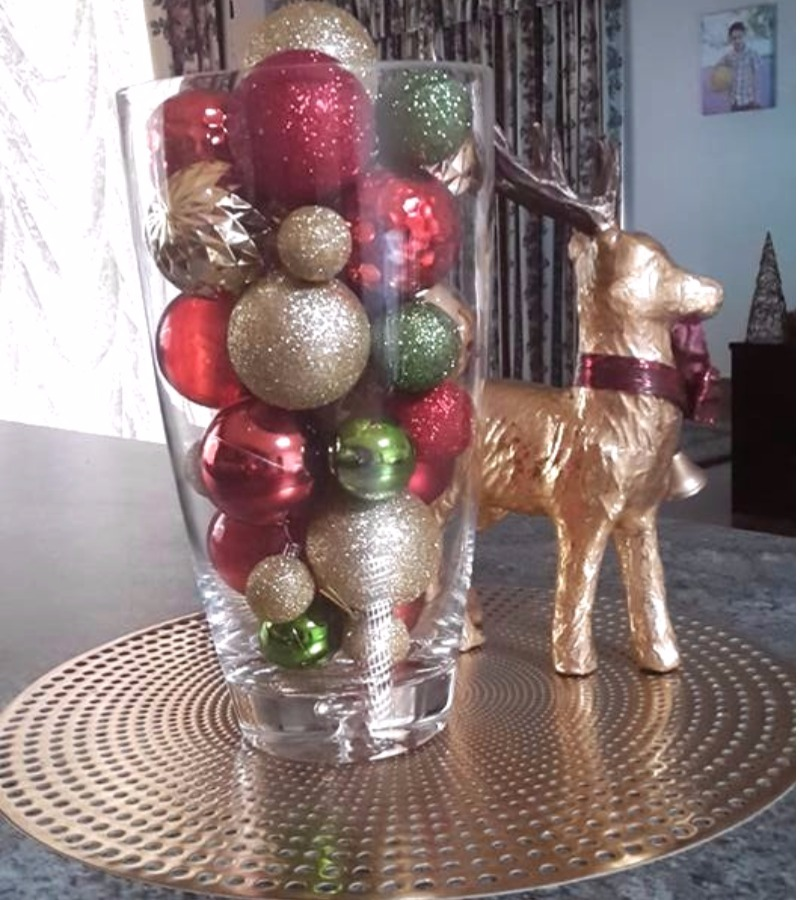 Kmart Christmas Hacks baubles in vase