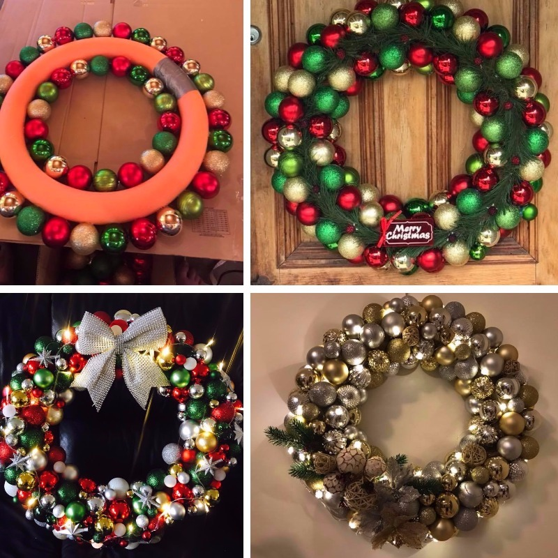 Christmas Kmart Hacks Pool Noodle Wreath Montage