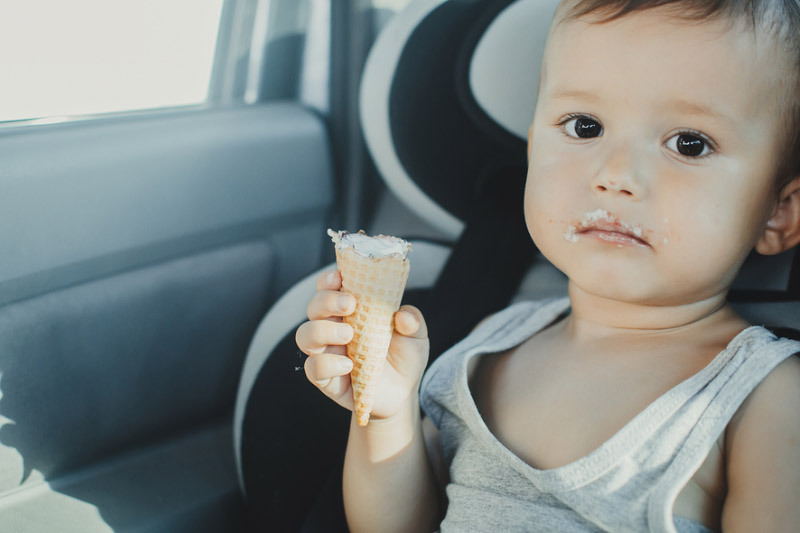 eating icecream in car
