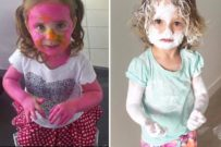 young children covered in paint and Sudocrem