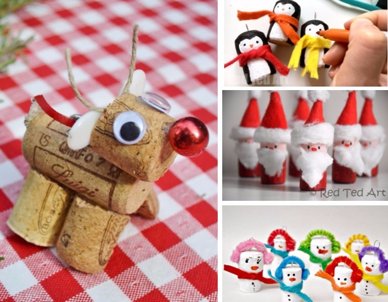 cute Christmas crafts made from wine corks