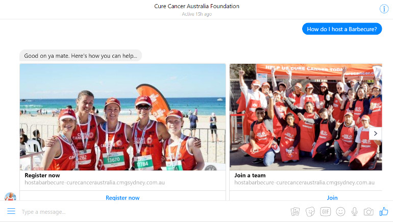 Host with Hoges bot Cure Cancer Australia