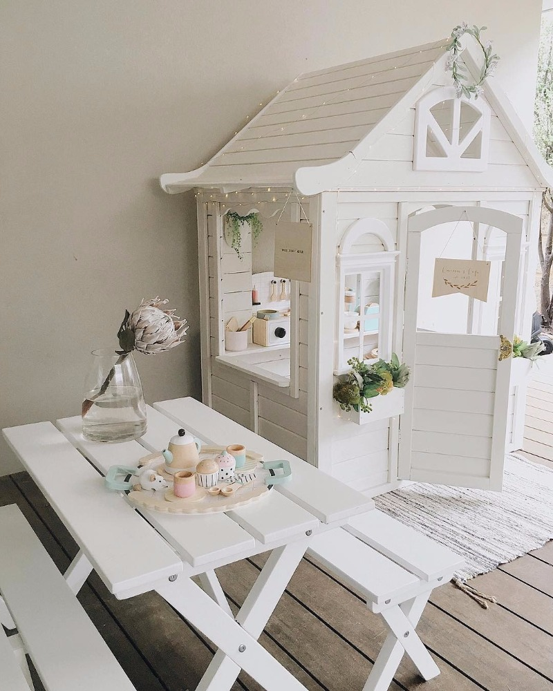Kmart cubby house painted white