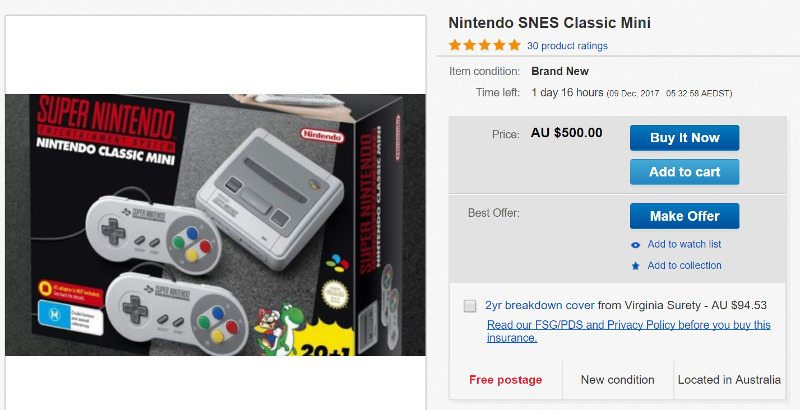 Super Nintendo $13000 on Ebay