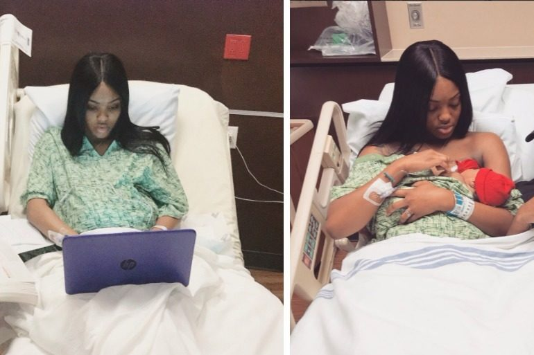 mum-to-be nails college exam while in labour