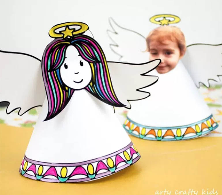 cute Christmas crafts for kids 2017 - paper angels