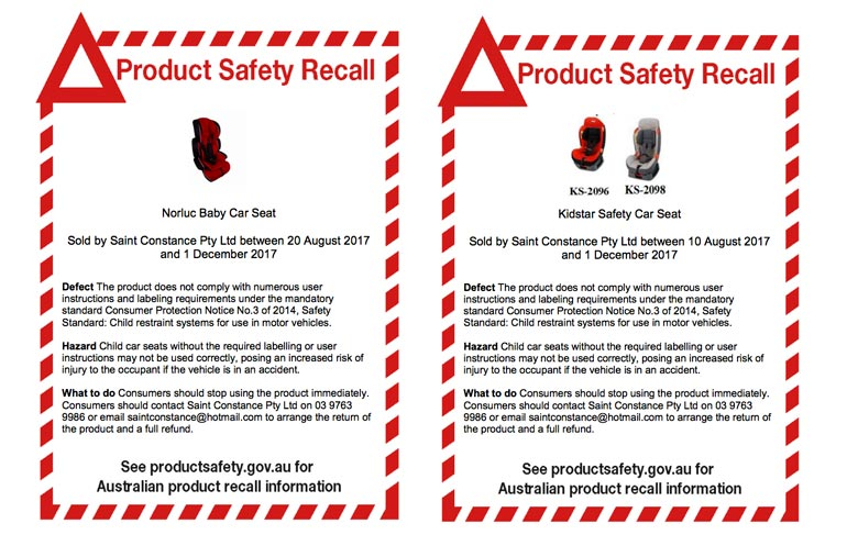 Kidstar and Norluc child car seat recall notice