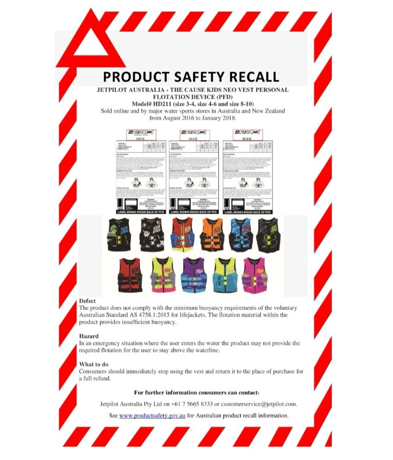life jackets recalled notice