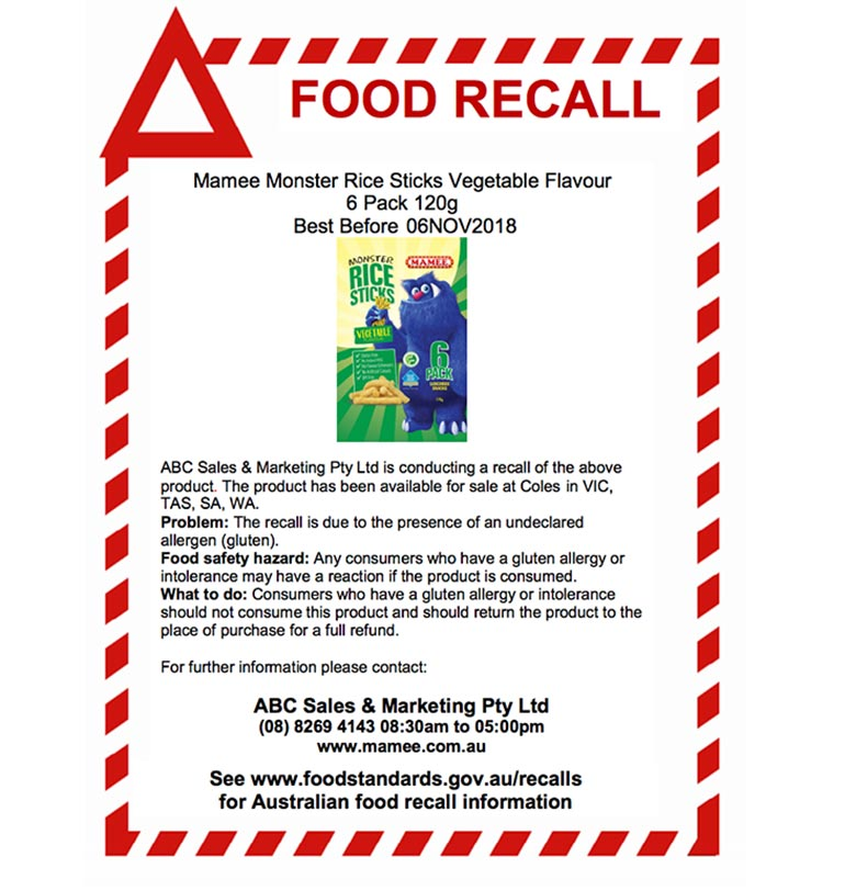 mamee rice sticks recall information