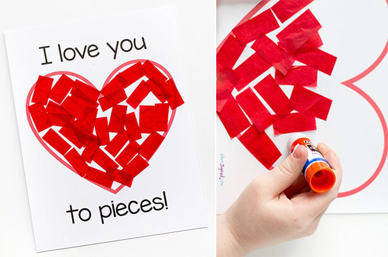 easy Valentine's Day crafts for kids, paper heart