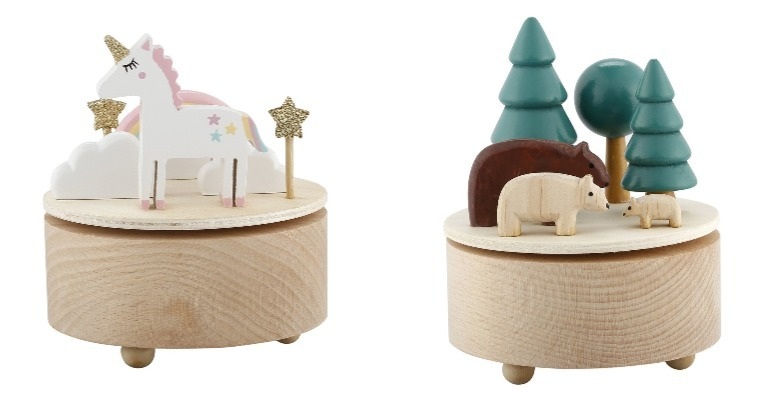 Kmart unicorn music box and Kmart woodland music box