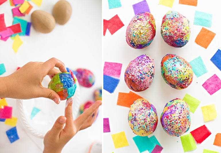 Easter craft, glitter eggs
