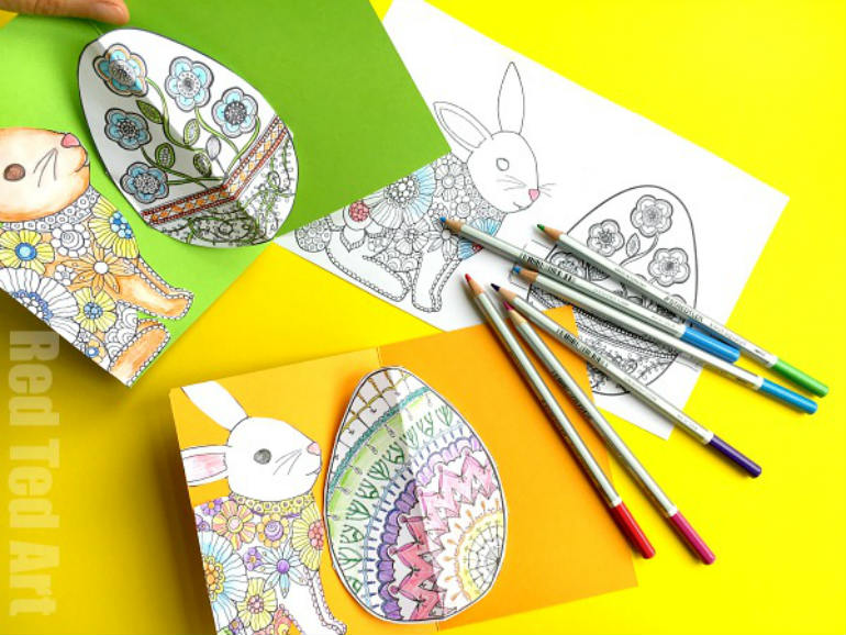 easter printables pop up card