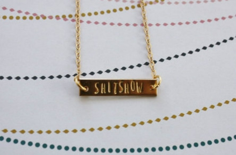 swear word jewellery shitshow necklace