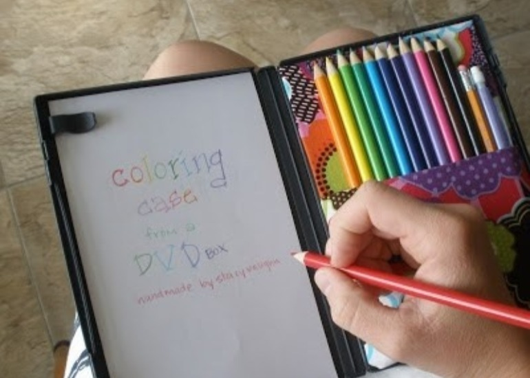 DVD colouring case travel road trip hack