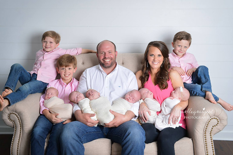 Waldrop family six babies