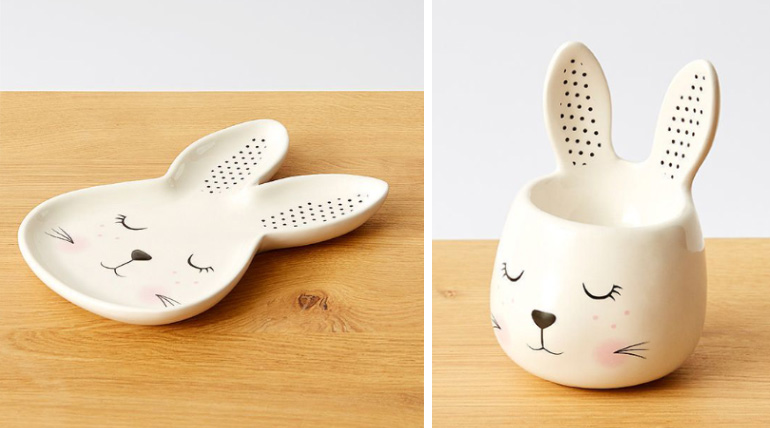 cute bunny plate and bunny egg cup for Easter