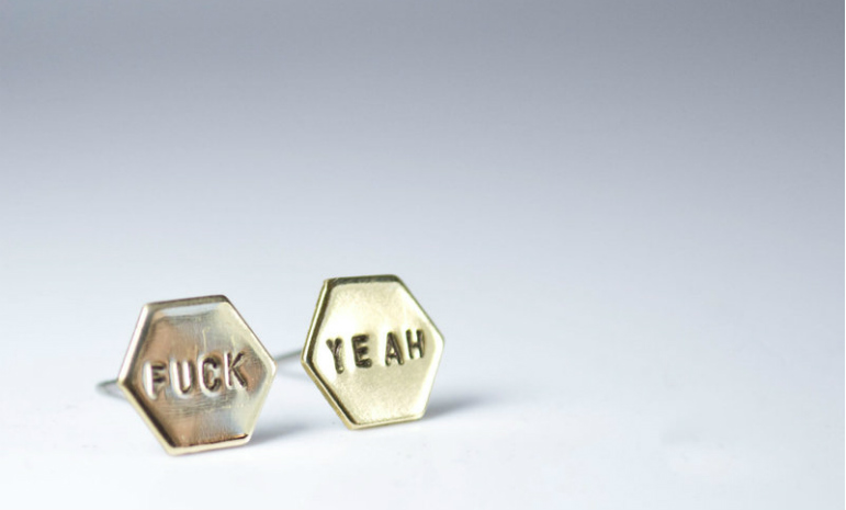 swear word jewellery earrings