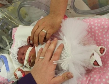 NICU wedding tiny flowergirl