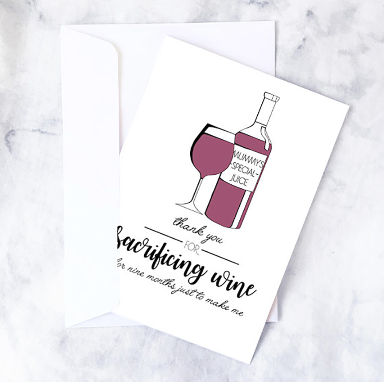 funny mother's day cards wine